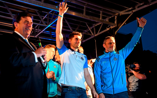 Dublin's Bernard and Alan Brogan on stage during the team homecoming. O'Connell St, Dublin. Picture credit: Paul Mohan / SPORTSFILE