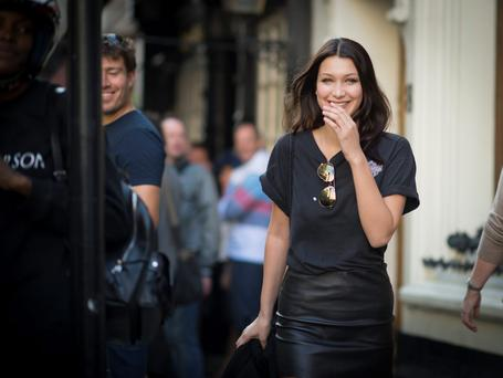 Bella Hadid during London Fashion Week Spring/Summer 2016/17 on September 20, 2015 in London, England. (Photo by Timur Emek/Getty Images)