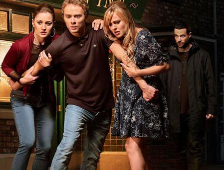 Callum, the world's least convincing drug dealer, attacks Sarah-Louise Platt in Corrie