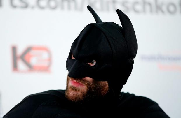 Tyson Fury in fancy dress during the press conference