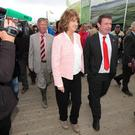 Joan Burton and Alan Kelly pictured at the National Ploughing championships 2015 which takes place in Ratheniska, Co Laois this week. Photo: Stephen Collins/Collins Photos
