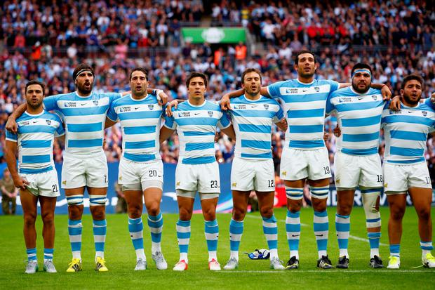 Argentina observe the national anthem during the 2015 Rugby World Cup Pool C match between New Zealand and Argentina at Wembley Stadium (Photo by Chris Lee - World Rugby/World Rugby via Getty Images)