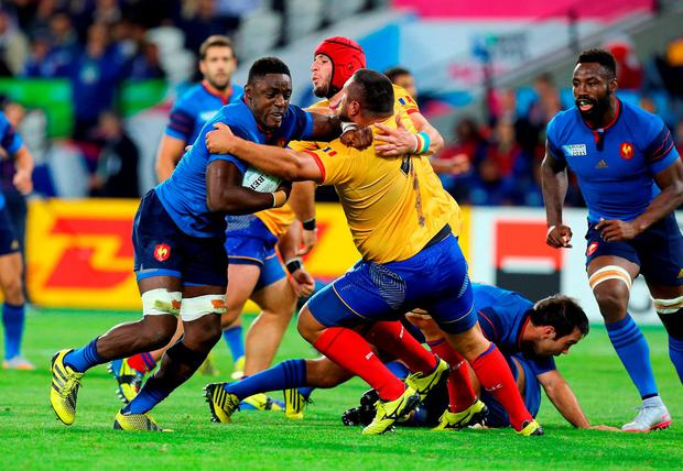 France's Yannick Nyanga in action during the Rugby World Cup match at The Olympic Stadium, London.