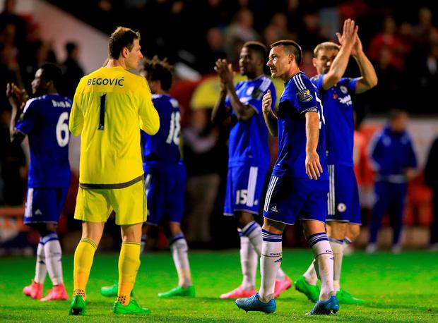 Chelsea's John Terry and goalkeeper Asmir Begovic (left) after the Capital One Cup, third round match at Banks' Stadium, Walsall.