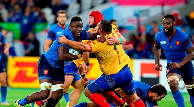 France's Yannick Nyanga in action during the Rugby World Cup match at The Olympic Stadium, London