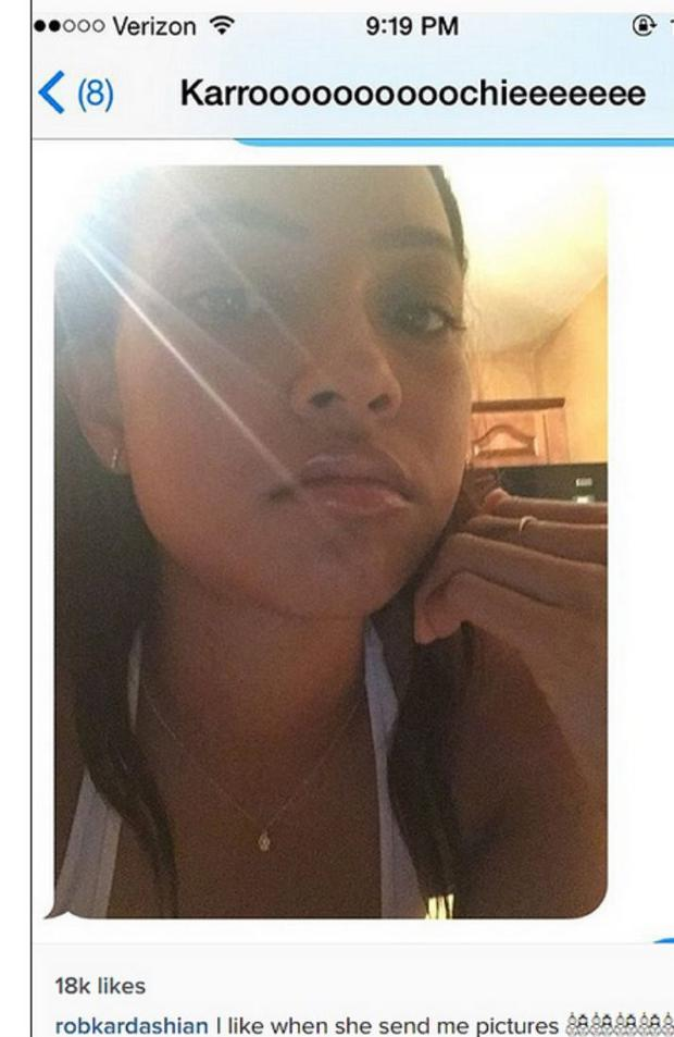 Rob shared a screenshot of a selfie that Karrueche sent him. He later deleted the image.