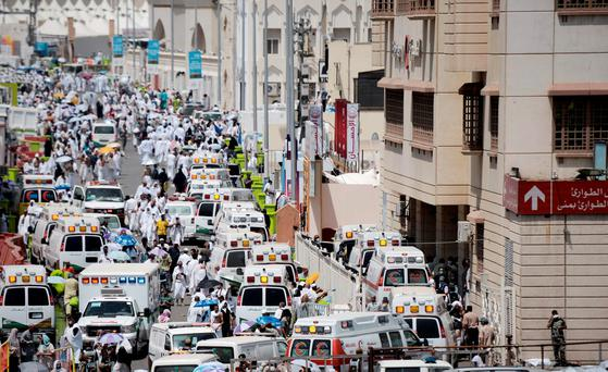 Saudi ambulances arrive at the scene of the tragedy