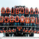 24 September 2015; Ireland players, front row, from left, Conor Murray, Keith Earls, Tadhg Furlong, Mike Ross and Jamie Heaslip with members of the public as they enjoy the Oblivion ride at Alton Towers during a down day ahead of their Pool D match against Romania. St George's Park, Burton-upon-Trent, England. Picture credit: Brendan Moran / SPORTSFILE