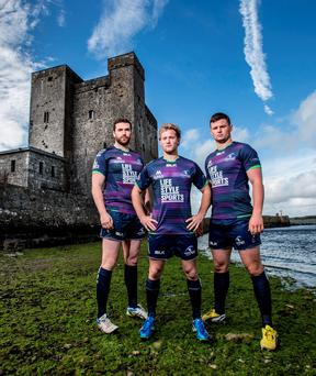 Andrew Browne, Kieran Marmion and Eoghan Masterson at the launch of the new BLK Connacht Rugby 2015/16 European kit. The new jersey will go on sale exclusively instore in Life Style Sports and online at www.lifestylesports.