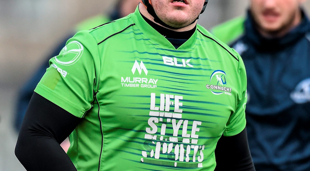5 January 2015; Connacht's Denis Buckley in action during squad training ahead of their Guinness PRO12, Round 13, game against Edinburgh on Friday. Connacht Rugby Squad Training, Sportsground, Galway. Picture credit: David Maher / SPORTSFILE
