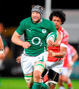 Kevin McLaughlin on the charge for Ireland against Tonga at Ravenhill in November 2009