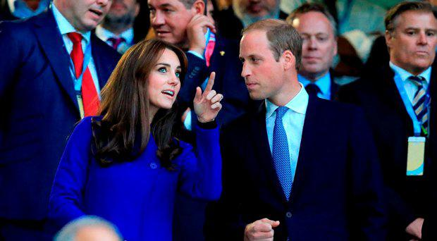 The Duke and the Duchess of Cambridge before the Rugby World Cup match at Twickenham Stadium, London
