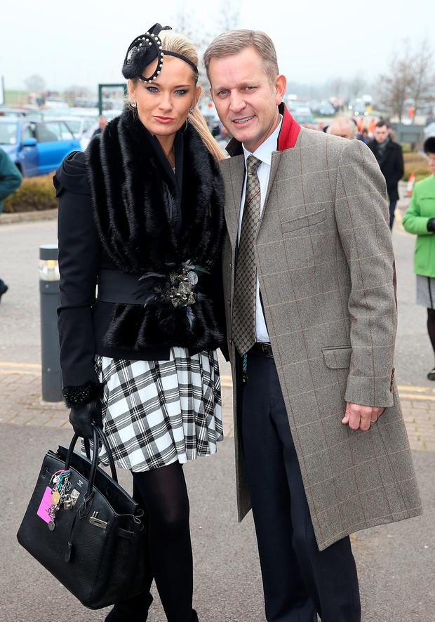 Jeremy Kyle and Carla Germaine attend Ladies Day, day 2 of The Cheltenham Festival at Cheltenham Racecourse on March 12, 2014 in Cheltenham, England. (Photo by Danny E. Martindale/Getty Images)