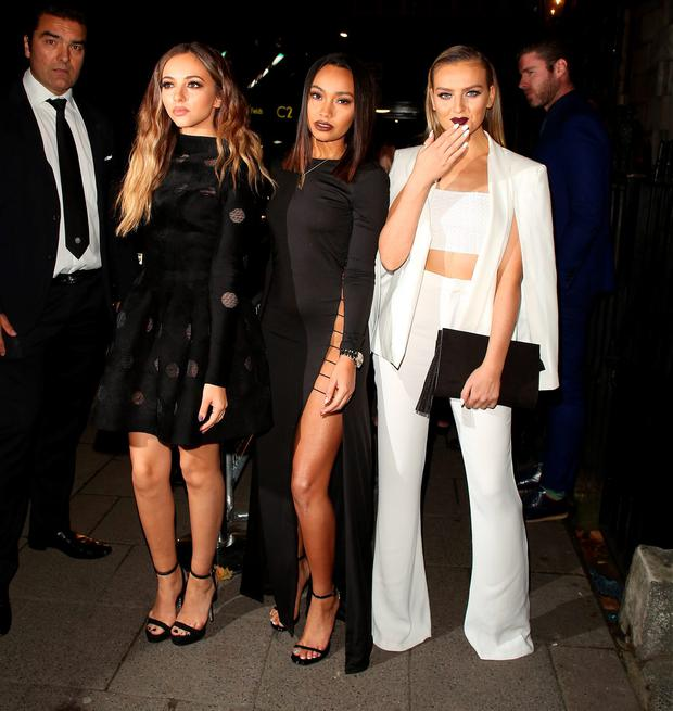 Jade Thirlwall, Leigh-Anne Pinnock and Perrie Edwards at Annabels for an intimate dinner and exclusive performance with Selena Gomez on September 24, 2015 in London, England. (Photo by Mark Robert Milan/GC Images)