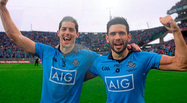 Rory O'Carroll, left, and Cian O'Sullivan, Dublin, celebrate after the game. GAA Football All-Ireland Senior Championship Final, Dublin v Kerry, Croke Park, Dublin