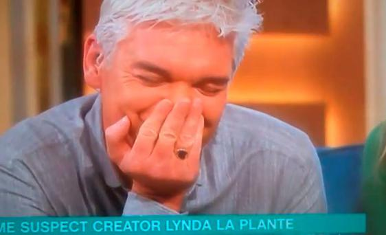Philip Schofield gets the giggles on This Morning when Lynda La Plante accidentally says 'blow job'