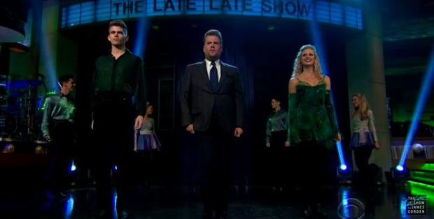 James Corden joins Riverdance crew on stage (Photo: Youtube)