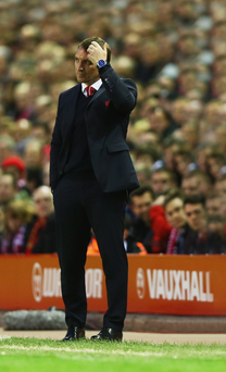 Head scratcher: Brendan Rodgers spoke about his perilous situation at Liverpool yesterday