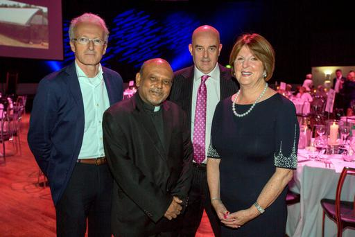 Monsignor Gregory Ramkissoon pictured with Carmel Buckley, Michael O'Reilly and Billy Glennon at the Annual Mustard Seed charity event in the Mansion House, Dublin. Pic: Mark Condren