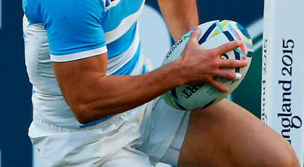 On his own: Juan Imhoff scores Argentina's third try