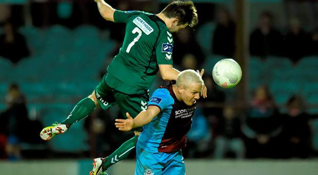 25 September 2015; Sean Thornton, Drogheda United, inaction against Karl Moore, Bohemians. SSE Airtricity League Premier Division, Drogheda United v Bohemians, United Park, Drogheda, Co. Louth. Picture credit: Paul Mohan / SPORTSFILE