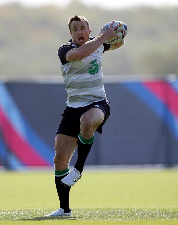 Up for it: Tommy Bowe in training at St George's Park yesterday