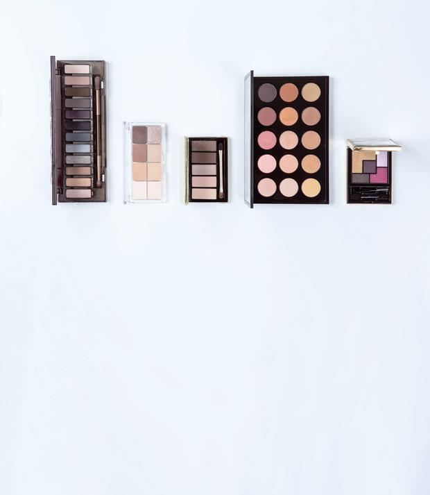 Pictured, from left: Urban Decay Naked Palette in Smoky; essence all about nude; Clarins 5-Colour Eyeshadow Palette in Pretty Day; Mac Eye Shadow x 15 in Warm Neutral; YSL Couture Palette in Metal Clash