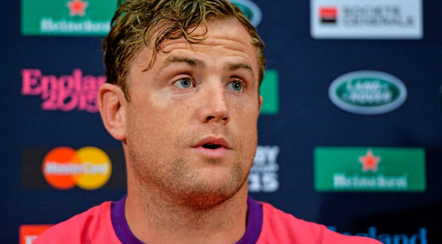 26 September 2015; Ireland's Jamie Heaslip speaks to the media during the pre-match press conference. Ireland Rugby Press Conference, 2015 Rugby World Cup, Wembley Stadium, Wembley, London, England. Picture credit: Brendan Moran / SPORTSFILE