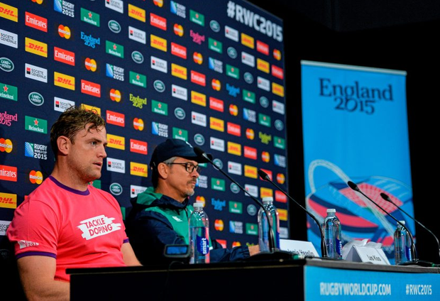 26 September 2015; Ireland's Jamie Heaslip and assistant coach Les Kiss speaking to the media during the pre-match press conference. Ireland Rugby Press Conference, 2015 Rugby World Cup, Wembley Stadium, Wembley, London, England. Picture credit: Brendan Moran / SPORTSFILE