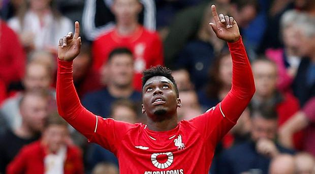 Liverpool's Daniel Sturridge celebrates scoring their third goal