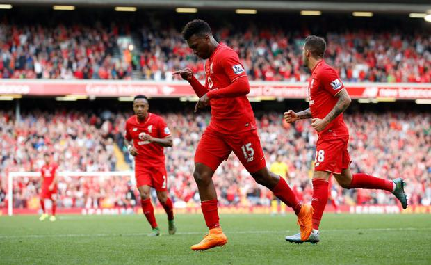 Football - Liverpool v Aston Villa - Barclays Premier League - Anfield - 26/9/15 Liverpool's Daniel Sturridge celebrates scoring their third goal Action Images via Reuters / Carl Recine Livepic EDITORIAL USE ONLY. No use with unauthorized audio, video, data, fixture lists, club/league logos or
