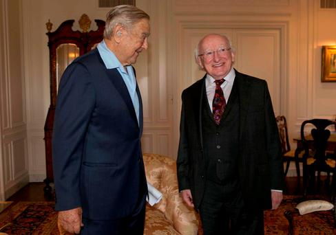 President Higgins is pictured with George Soros in New York Picture by Shane O'Neill / Fennell Photography 2015.