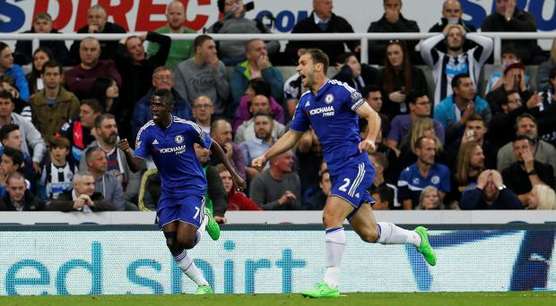 Chelsea's Ramires and Branislav Ivanovic celebrate their second goal Images via Reuters / Lee Smith