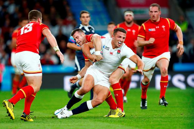 Sam Burgess of England in action against Gareth Davies of Wales Reuters / Andrew Winning Livepic