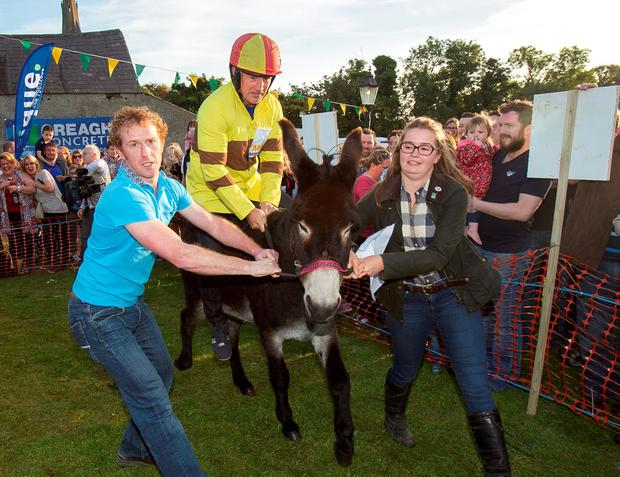 Former WBA Featherweight Champion Barry McGuigan at a charity donkey derby event in Moneyglass, Co. Antrim credit: Liam McBurney/PA Wire