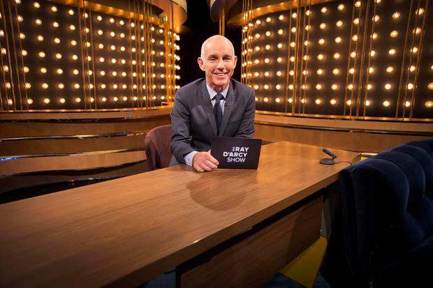Ray D'Arcy pictured at his desk on the set of the RTE The Ray D'Arcy Show airing for the first time tonight at 9:45 on RTE One. Picture Andres Poveda