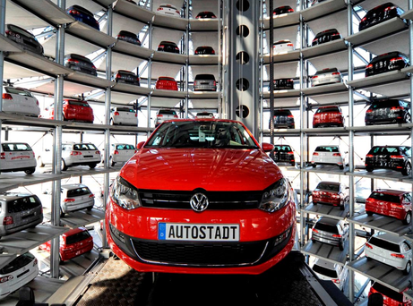 A VW Golf in the Autostadt theme park, next door to the Volkswagen plant in Wolfsburg, Germany