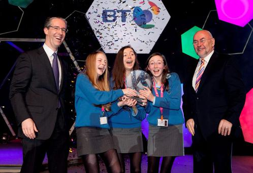 Colm O'Neill, chief executive of BT Ireland, with Emer Hickey, Sophie Healy-Thow and Ciara Judge, the Young Scientist winners of 2013