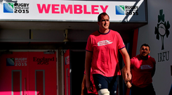 Ireland's Devin Toner and Cian Healy make their way out for the captain's run. Ireland Rugby Squad Captawin's Run, 2015 Rugby World Cup, Wembley Stadium, Wembley, London, England. Picture credit: Brendan Moran / SPORTSFILE