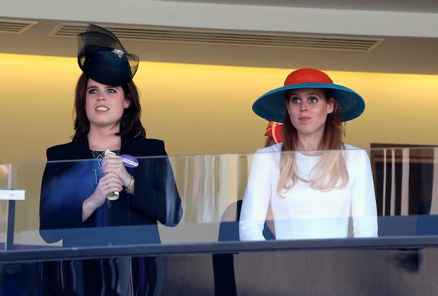 Princess Eugenie and Princess Beatrice in watch the Queen's horse in the final race as they attend Ladies Day on day 3 of Royal Ascot at Ascot Racecourse on June 18, 2015 in Ascot, England. (Photo by Chris Jackson/Getty Images)