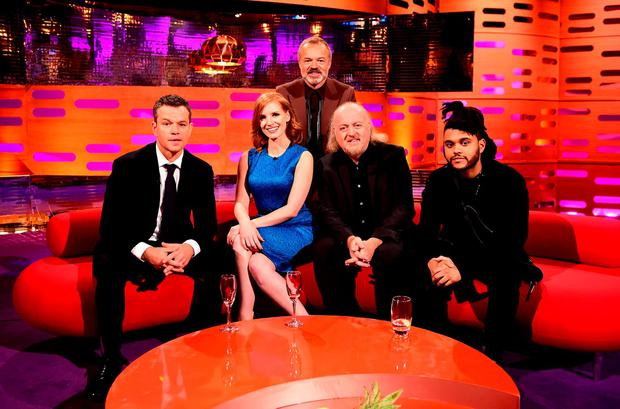 (left to right) Matt Damon, Jessica Chastain,Graham Norton, Bill Bailey and The Weeknd appearing on the Graham Norton Show at the London Studios