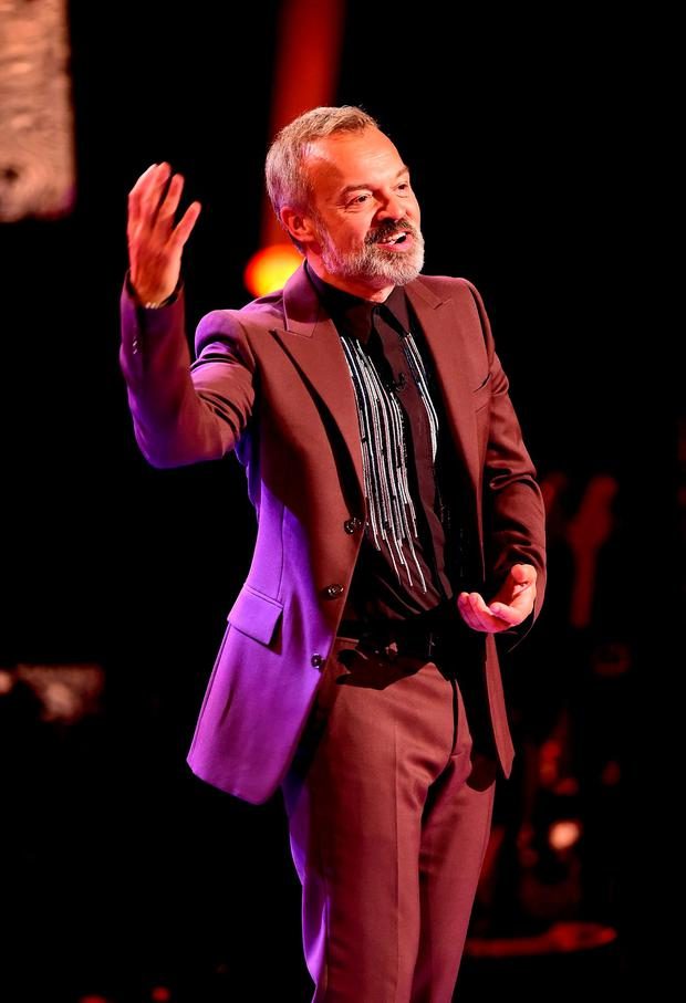 Host Graham Norton during filming of the Graham Norton Show at the London Studios