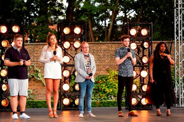 Tom Bleasby, Sophie Stott, Joseph Mccaul, Simon Lynch and Karen Mav in the bootcamp country house during the ITV1 talent show, The X Factor. Picture: SYCO/THAMES TV/PA Wire