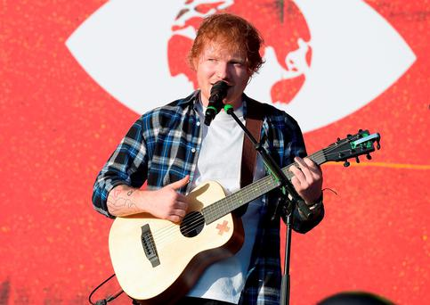 Musician Ed Sheeran performs on stage at the 2015 Global Citizen Festival to end extreme poverty by 2030 in Central Park on September 26, 2015 in New York City. (Photo by Theo Wargo/Getty Images for Global Citizen)