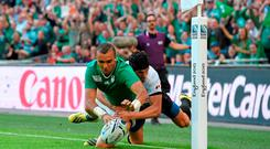 Simon Zebo, Ireland, touches the ball down past the Romania try-line, only for the try to be disallowed