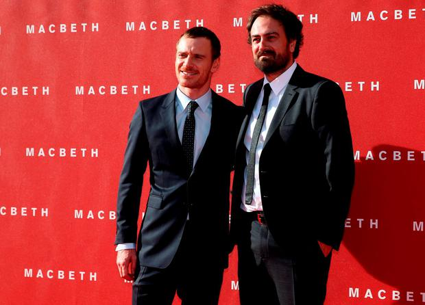 Actor Michael Fassbender and director Justin Kurzel arrive for the British premiere of