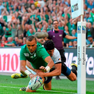 Simon Zebo, Ireland, touches the ball down past the Romania try-line, only for the try to be disallowed due to Simon Zebo having played the ball in touch. 2015 Rugby World Cup, Pool D, Ireland v Romania, Wembley Stadium, Wembley, London, England. Picture credit: Brendan Moran / SPORTSFILE
