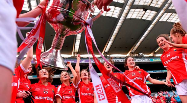 Cork players celebrate after the game. TG4 Ladies Football All-Ireland Senior Championship Final, Croke Park, Dublin. Picture credit: Paul Mohan / SPORTSFILE