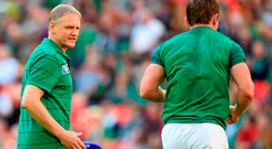 Ireland head coach Joe Schmidt, left, and Eoin Reddan, Ireland, ahead of the game. 2015 Rugby World Cup, Pool D, Ireland v Romania, Wembley Stadium, Wembley, London, England. Picture credit: Stephen McCarthy / SPORTSFILE