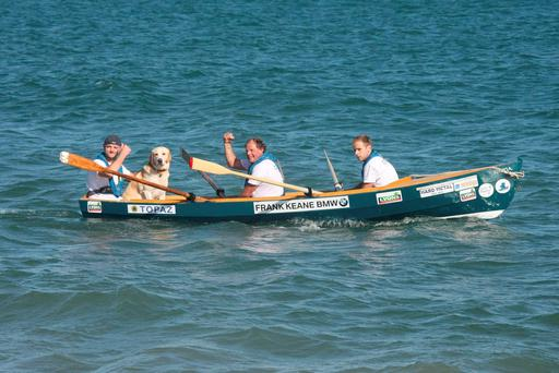 Ger Crowley (local Bray man) & 19 of his crew, they rowed around Ireland in a boat called NAMA in aid of Cystic Fibrosis Pics : Mark Doyle